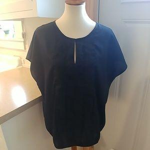 Ann Taylor LOFT Black Sequins Keyhole Blouse sz XL